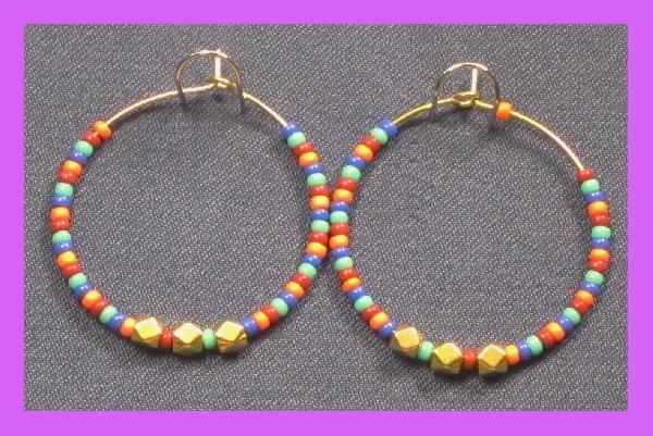 Edelstahlcreole vergoldet mit Glasperlen